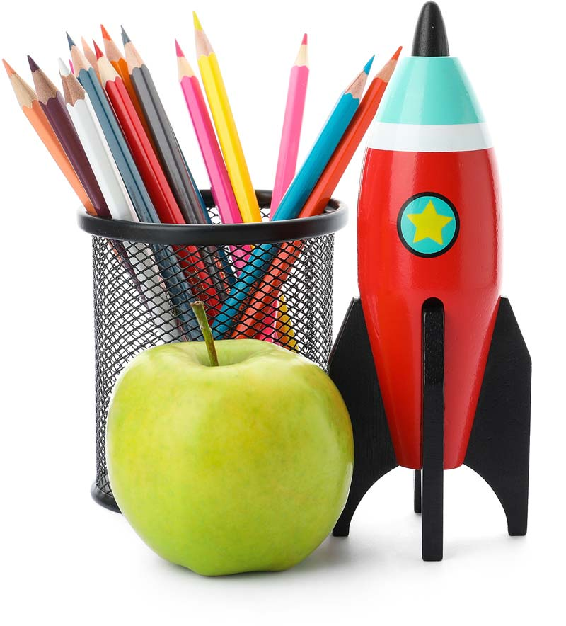 pencil cup with colored pencils next to a toy rocket and green apple